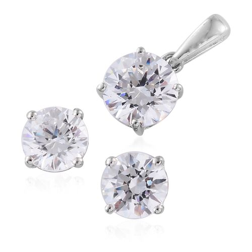 J Francis - 9K W Gold (Rnd) Solitaire Pendant and Stud Earrings (with Push Back) Made with SWAROVSKI ZIRCONIA