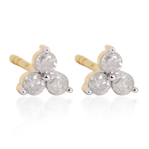 9K Yellow Gold 0.25 Carat Diamond (Rnd) Stud Earrings (with Push Back) SGL Certified (I3 G-H)