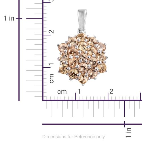 Imperial Topaz (Rnd) Floral Pendant in Platinum Overlay Sterling Silver 2.500 Ct.