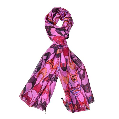 One Time Only - Close Out Deal 100% Mulberry Silk Pink, Black and Multi Colour Shoe Printed Scarf (Size 175X65 Cm)