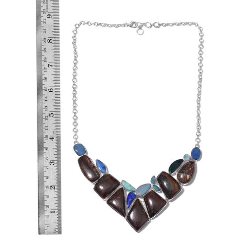 One Off A Kind- Boulder Opal Rock and Opal Double Necklace (Size 18 with 1 inch Extender) in Sterling Silver 183.001 Ct. Silver wt 29.60 Gms.