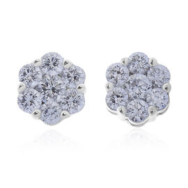 RHAPSODY 950 Platinum IGI Certified Diamond (Rnd) (VS/E-F) Floral Stud Earrings (with Screw Back) 1.000 Ct.