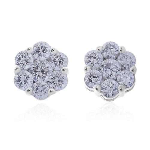 RHAPSODY 950 Platinum IGI Certified Diamond (Rnd) (VVS-VS/E-F) Floral Stud Earrings (with Screw Back) 1.000 Ct.