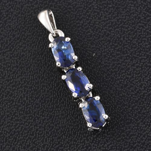 RHAPSODY 950 Platinum 1.25 Carat AAAA Ceylon Blue Sapphire Trilogy Pendant