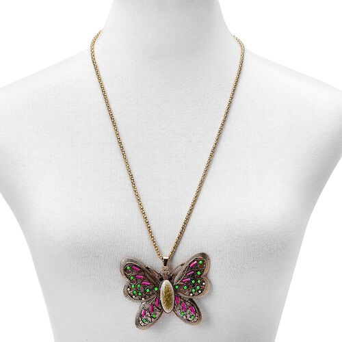 Simulated Pink Howlite, Simulated Multi Gemstone, Black and Green Austrian Crystal Butterfly Pendant With Chain (Size 28) and Hook Earrings in Yellow Gold and Silver Tone