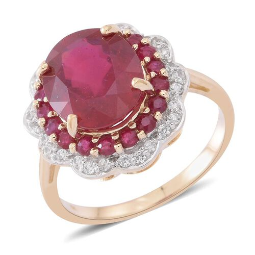 9K Y Gold AAA African Ruby (Ovl 6.50 Ct), Burmese Ruby and White Zircon Ring 8.000 Ct.