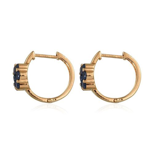 Kanchanaburi Blue Sapphire (Rnd) Floral Hoop Earrings (with Clasp) in 14K Gold Overlay Sterling Silver 2.250 Ct.