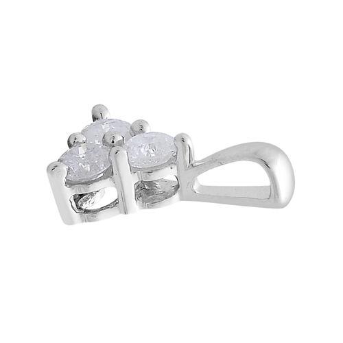 9K White Gold 0.33 Carat Diamond Trilogy Pendant SGL Certified I3 G-H