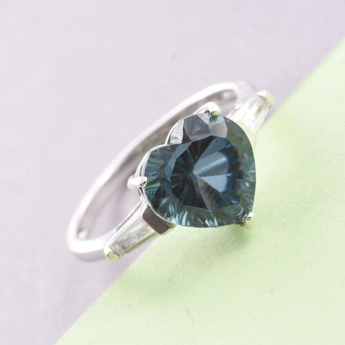Indicolite Quartz (Hrt 4.00 Ct), White Topaz Heart Ring in Platinum Overlay Sterling Silver 4.500 Ct.