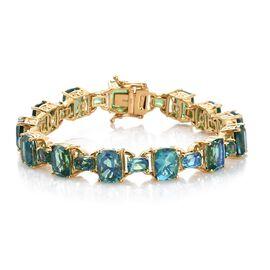 Designer Inspired-Peacock Quartz (Cush) Bracelet (Size 7.25) in 14K Gold Overlay Sterling Silver 37.500 Ct. Silver wt 18.52 Gms.