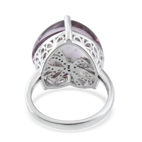 GP Rose De France Amethyst (Hrt 25.00 Ct), Natural Cambodian Zircon and Kanchanaburi Blue Sapphire Ring in Platinum Overlay Sterling Silver 25.500 Ct.