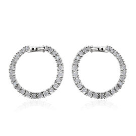 GP Diamond Dream (Rnd), Kanchanaburi Blue Sapphire Hoop Earrings (with Clasp Lock) in Platinum Overlay Sterling Silver 0.540 Ct.