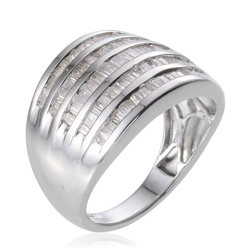 Diamond (Bgt) Ring in Platinum Overlay Sterling Silver 1.000 Ct.