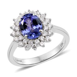 ILIANA 18K White Gold 2 Ct. AAA Tanzanite Halo Ring with Diamond (SI/G-H)