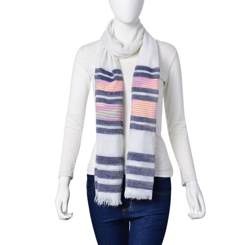 Pink, Blue, Grey and Multi Colour Stripe Pattern White Colour Scarf (Size 200x90 Cm)