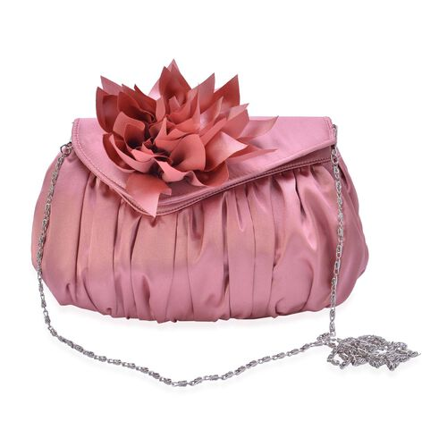 Blush Pink Satin Clutch with Dahlia Flower and Removable Chain Strap (Size 23x15 Cm)