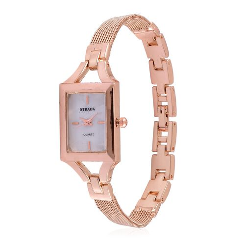 STRADA Japanese Movement White Dial Water Resistant Watch in Rose Gold Tone with Stainless Steel Back and Chain Strap