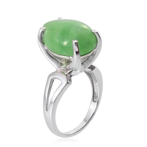 Green Jade (Pear) Ring in Platinum Overlay Sterling Silver 12.250 Ct.