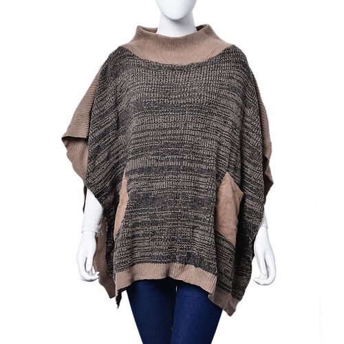 New Season - Black and Khaki Colour Knitted Winter Poncho with 2 Pockets (Size 85x60 Cm)