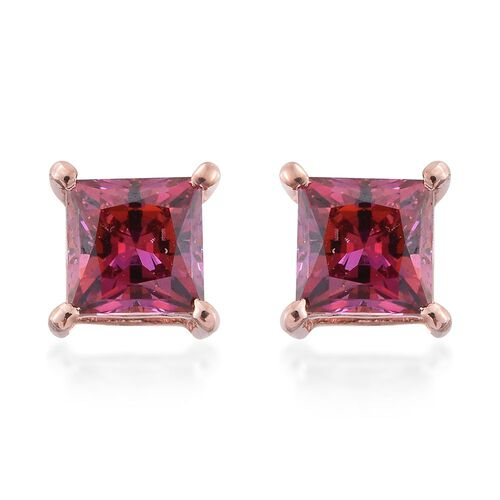 J Francis - Rose Gold Overlay Sterling Silver (Princess Cut) Stud Earrings (with Push Back) Made with Red SWAROVSKI ZIRCONIA