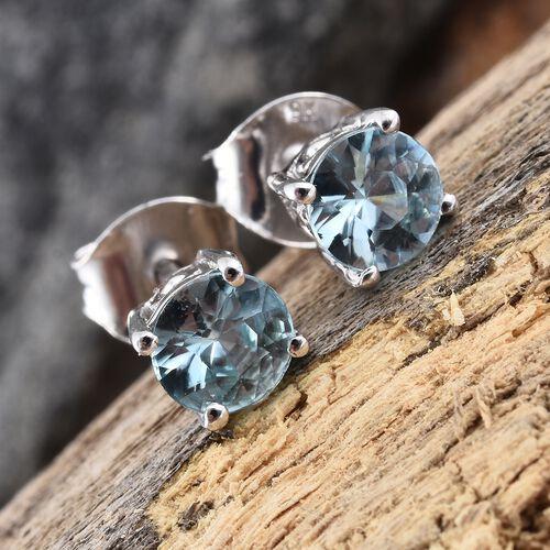 1.25 Ct AA Blue Zircon Solitaire Stud Earrings in 9K White Gold