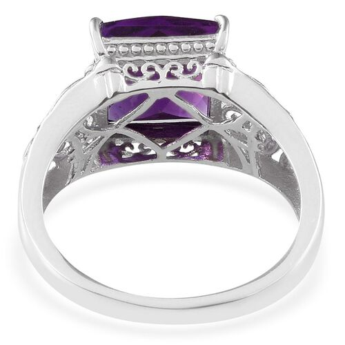 Amethyst (Sqr) Solitaire Ring in Platinum Overlay Sterling Silver 4.500 Ct.