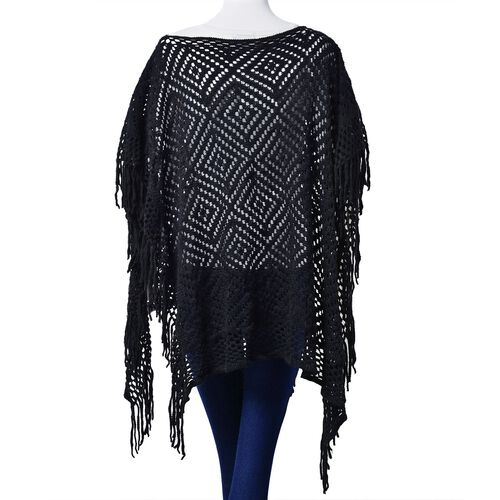 Diamond Pattern Black Colour Poncho with Tassels (Size 80x70 Cm)