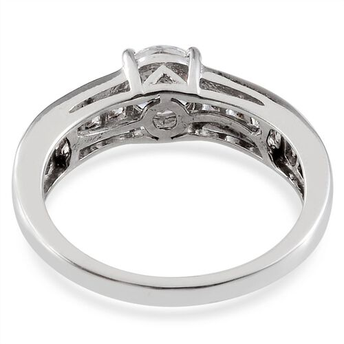 J Francis - Platinum Overlay Sterling Silver (Rnd) Ring Made With SWAROVSKI ZIRCONIA 1.640 Ct.