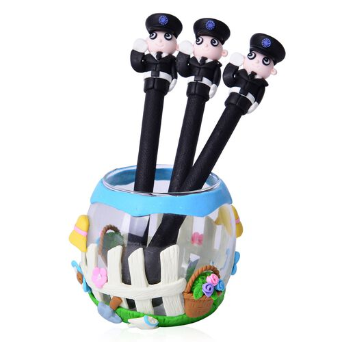 Set of Ten Soldier Theme Black Colour Pens (Black Ink) and One Garden Theme Pen Holder (Size 7X6 Cm)