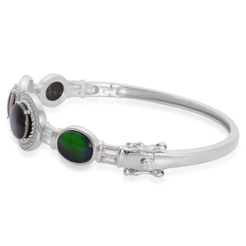 Canadian Ammolite (Ovl), White Topaz Bangle in Rhodium Plated Sterling Silver (Size 7.5) 8.050 Ct.