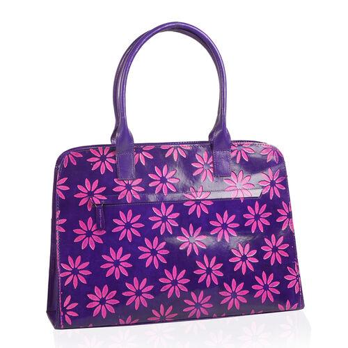 100% Genuine Leather Purple Colour RFID Hand-Painted Hand Bag With External Zipper Pocket. (41cmX 26cmX 9cm)