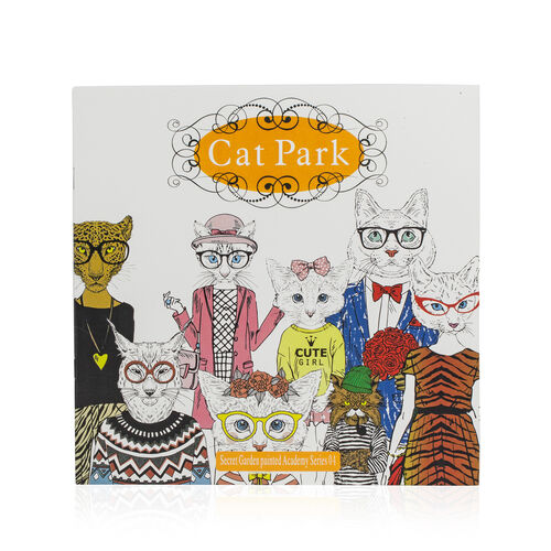 (Option-3) Set of 5 - 24 Colour Pencils with 4 Colouring Books (Cat Park,  Animal Kingdom, Garden Fairy Tale and Natural Singular)