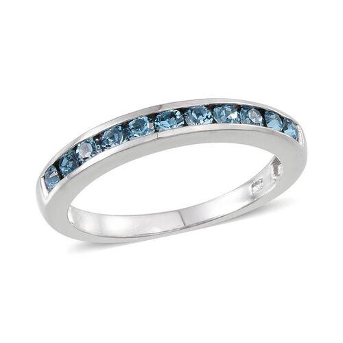Crystal from Swarovski - Aquamarine Colour Crystal (Rnd) Half Eternity Band Ring in Platinum Overlay Sterling Silver
