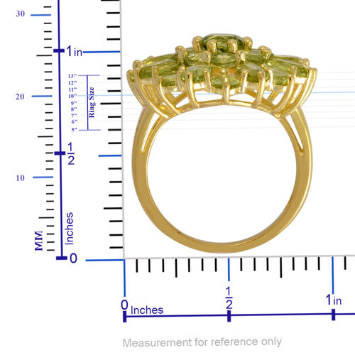 Hebei Peridot (Rnd 0.50 Ct) Cluster Ring in Yellow Gold Overlay Sterling Silver 4.750 Ct.