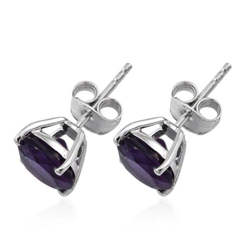 AA Amethyst Stud Earrings (with Push Back) in 9K White Gold  3.70 Ct.