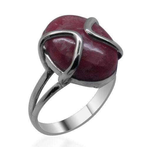 Royal Bali Collection Argentinian Rhodochrosite (Ovl) Solitaire Ring in Sterling Silver 11.970 Ct.