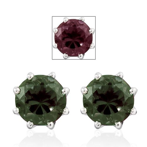 Alexandria Quartz (Rnd) Stud Earrings (with Push Back) in Platinum Overlay Sterling Silver 4.250 Ct.