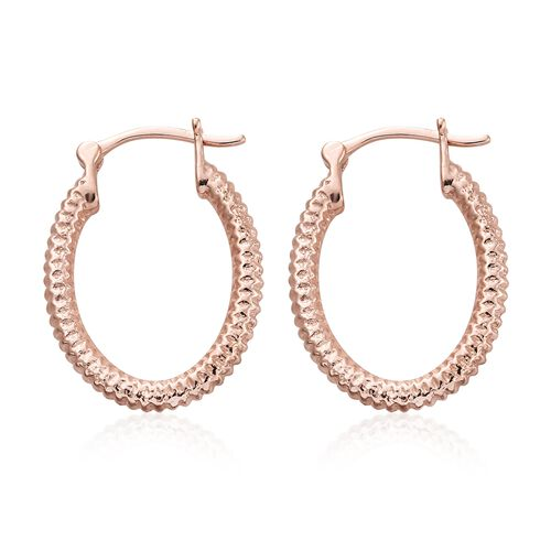 Rose Gold Overlay Sterling Silver Hoop Earrings (with Clasp Lock), Silver wt 5.39 Gms.