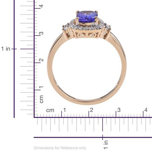 14K Y Gold AA Tanzanite (Cush 1.30 Ct), Diamond Ring 1.650 Ct.