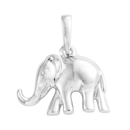 Platinum Overlay Sterling Silver Elephant Pendant, Silver wt. 2.45 Gms.