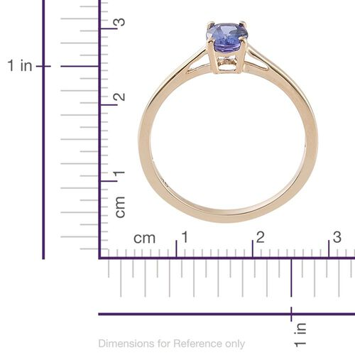 9K Yellow Gold 0.75 Carat AA Tanzanite (Ovl) Solitaire Ring