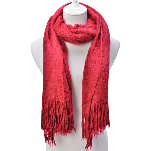 Fluffy Faux Fur Red Colour Scarf (Size 155x70 Cm)