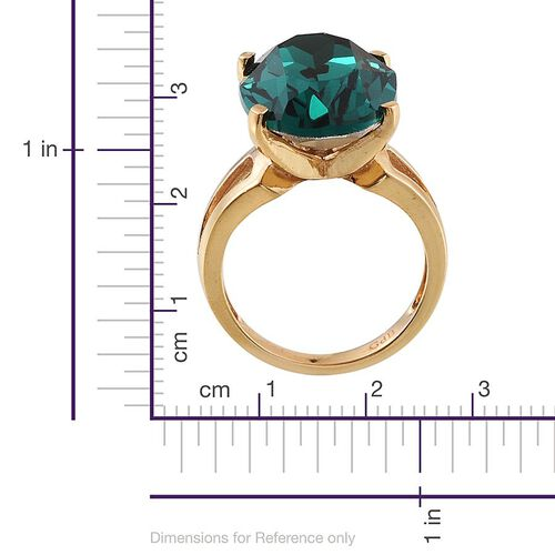 Crystal from Swarovski - Emerald Colour Crystal (Ovl) Ring in ION Plated 18K Yellow Gold Bond 11.000 Ct.