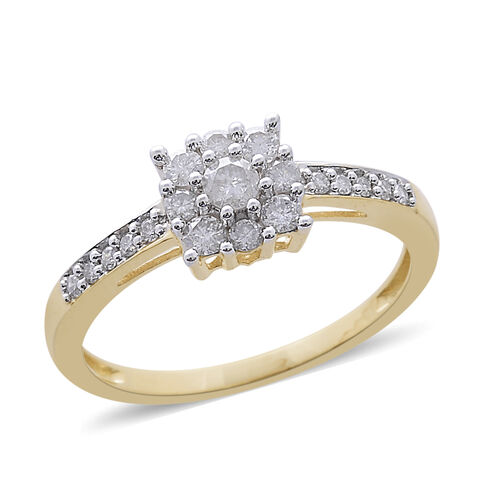 9K Y Gold SGL Certified Diamond (Rnd 0.10 Ct) (I3/ G-H) Ring 0.500 Ct.