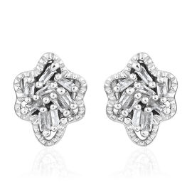 Diamond (Bgt) Stud Earrings (with Push Back) in Platinum Overlay Sterling Silver 0.100 Ct.