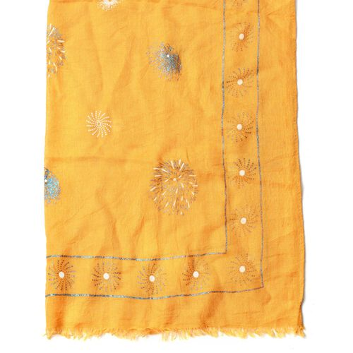 Blue and White Colour Fireworks Pattern Yellow Colour Scarf (Size 180x70 Cm)