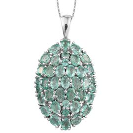9K W Gold Boyaca Colombian Emerald (Ovl) Cluster Pendant With Chain 5.500 Ct.