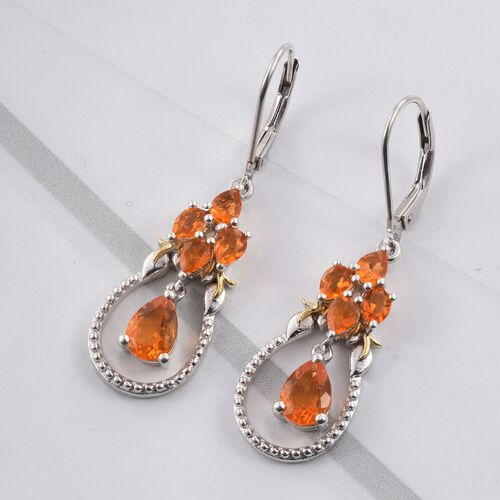 Jalisco Fire Opal (Pear) Lever Back Earrings in Platinum and Yellow Gold Overlay Sterling Silver 1.670 Ct.