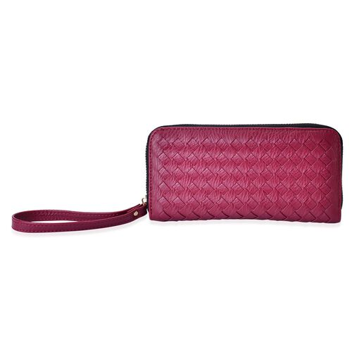 Celina Classic Hot Burgundy Intrecciato Textured Wallet And Cardholder Set (Size 19x9x2.5 Cm and 9x8.5x4.5 Cm)