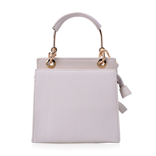 Cream Colour Crossbody Bag with Adjustable and Removable Shoulder Strap (Size 20x20x9 Cm)